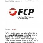 La Federació Catalana de Patinatge dona per finalitzades les seves competicions d'hoquei patins i ajorna les de patinatge artístic fins al mes de setembre