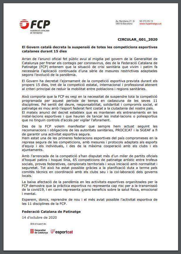 El Govern de la Generalitat decreta la suspensió de totes les competicions esportives catalanes durant 15 dies